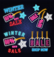 set winter sale neon sign with christmas tag vector image vector image