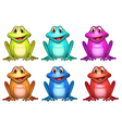 Six different colors of frogs vector image vector image
