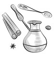 spoon and brewing pot cinnamon and bean vector image