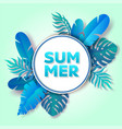 summer tropical greenery round frame paper vector image