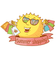 sun character shopping vector image vector image