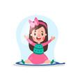 sweet cartoon little girl sitting inside giant vector image vector image