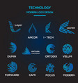 technological logo template collection vector image vector image