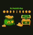 treasure chest and money bag in green symbols vector image