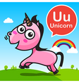 U Unicorn color cartoon and alphabet for children vector image vector image