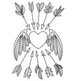 valentine doodle coloring book page heart vector image vector image