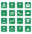 wedding icons set grunge vector image