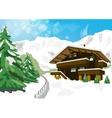 winter scenery with snow chalet and mountains vector image vector image