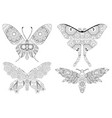 zentangle stylized set of butterflies hand drawn vector image
