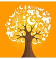 Halloween icons tree vector image