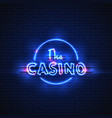 neon banner casino glowing electric stand vector image
