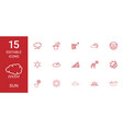 15 sun icons vector image vector image