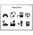 airport icons solid pack vector image vector image