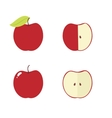 Apple apple core bitten half icons vector image