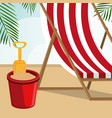 beach landscape with sand bucket scene vector image vector image