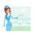 Beautiful stewardess with ticket vector image vector image