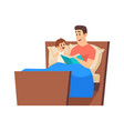 bedtime story father reading to son in bed night vector image