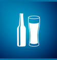beer bottle and glass icon alcohol drink symbol vector image vector image