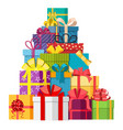 big pile of colorful wrapped gift boxes vector image