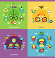 bike concept icons set vector image vector image