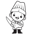 black and white funny chef mascot is holding a vector image vector image