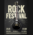 black poster design template with guitar vector image vector image