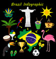 brazil flat icon set travel and tourism concept vector image vector image