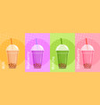 bubble tea set cartoon flat vector image