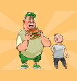 cartoon fat man eating a big burger vector image
