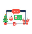christmas chatting on browser chat messages on vector image