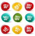 Circle Discount Tags Set Isolated on White vector image