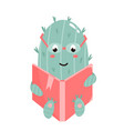 cute cactus reading a book vector image