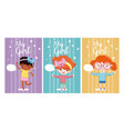 cute girls cards vector image