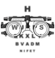 eyesight test glasses and reading boards vector image