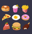 fast food colorful icons set vector image