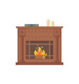 fireplace with decorative vases and ornaments vector image vector image