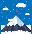 flag on peak mountain vector image