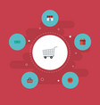 flat icons shop cash trolley and other vector image vector image