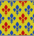 Flower-de-luce on a seamless woolen pattern vector image