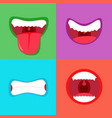 funny cartoon monster mouth sticking out tongue vector image