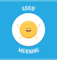 funny fried egg raises hands and smiles vector image vector image