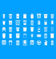 garbage can icon blue set vector image vector image