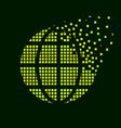 green globe flying pixel symbol vector image vector image