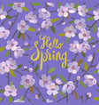 hello spring floral background blooming apple vector image vector image
