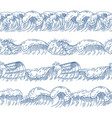 horizontal seamless patterns with different ocean vector image vector image