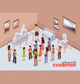 isometric museum exhibition background vector image vector image