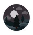 landscape nature night moon stars sky pine trees vector image