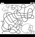 line maze with cartoon baby bear with mother vector image vector image