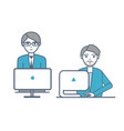 males wearing formal suits sitting laptops vector image