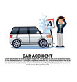 man with broken car over background with copy vector image vector image
